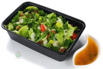 Зелёный салат фреш из зелени с филе из цитрусовых,семенами тыквы и соусом Апельсиновый Винегрет