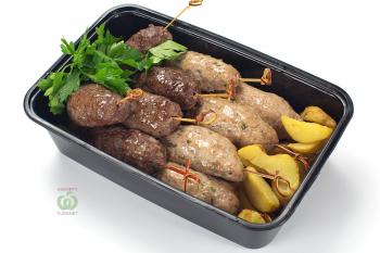 Ассорти люля кебаб курица и телятина с картофелем